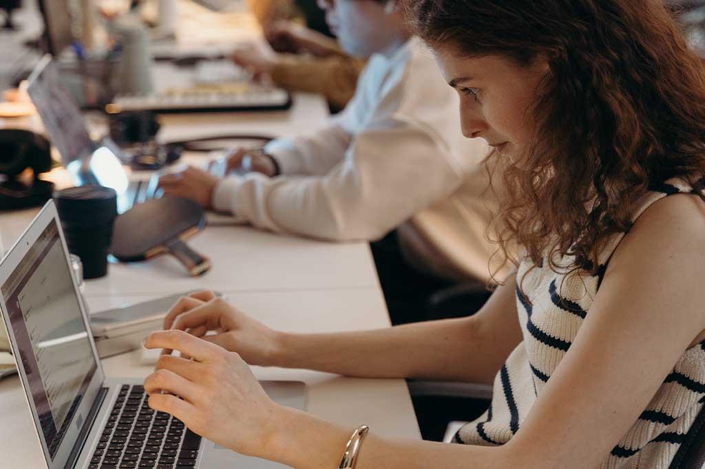 woman working on billing