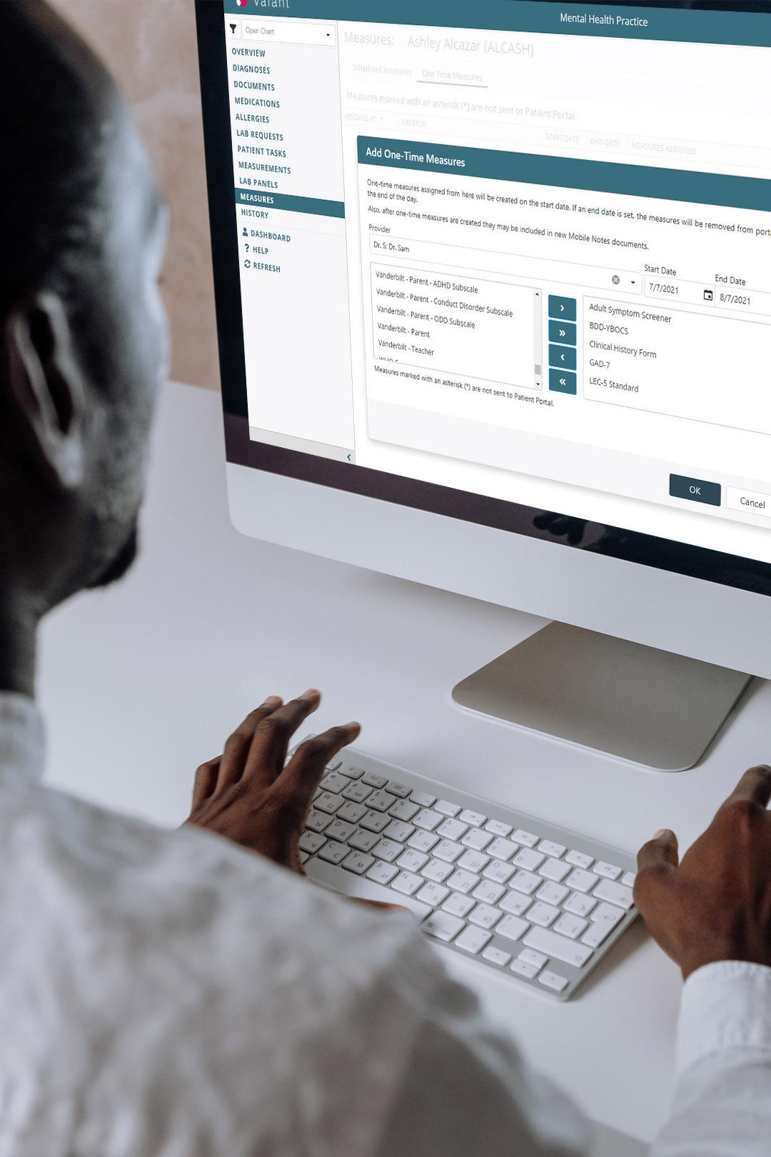 clinician inputting digital notes
