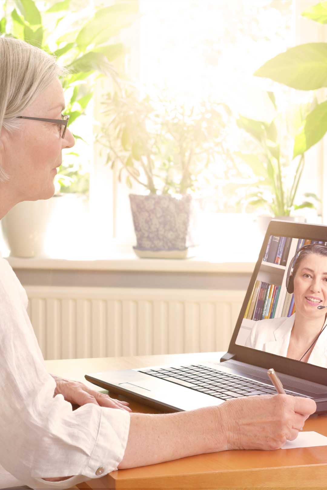 Telehealth meeting with patient and clinician