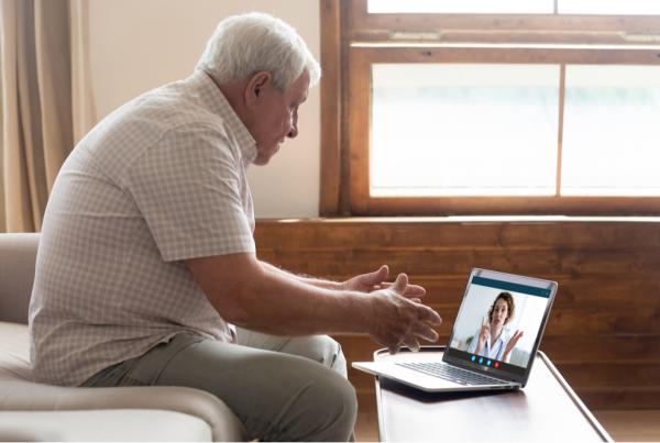 senior patient in behavioral telehealth session