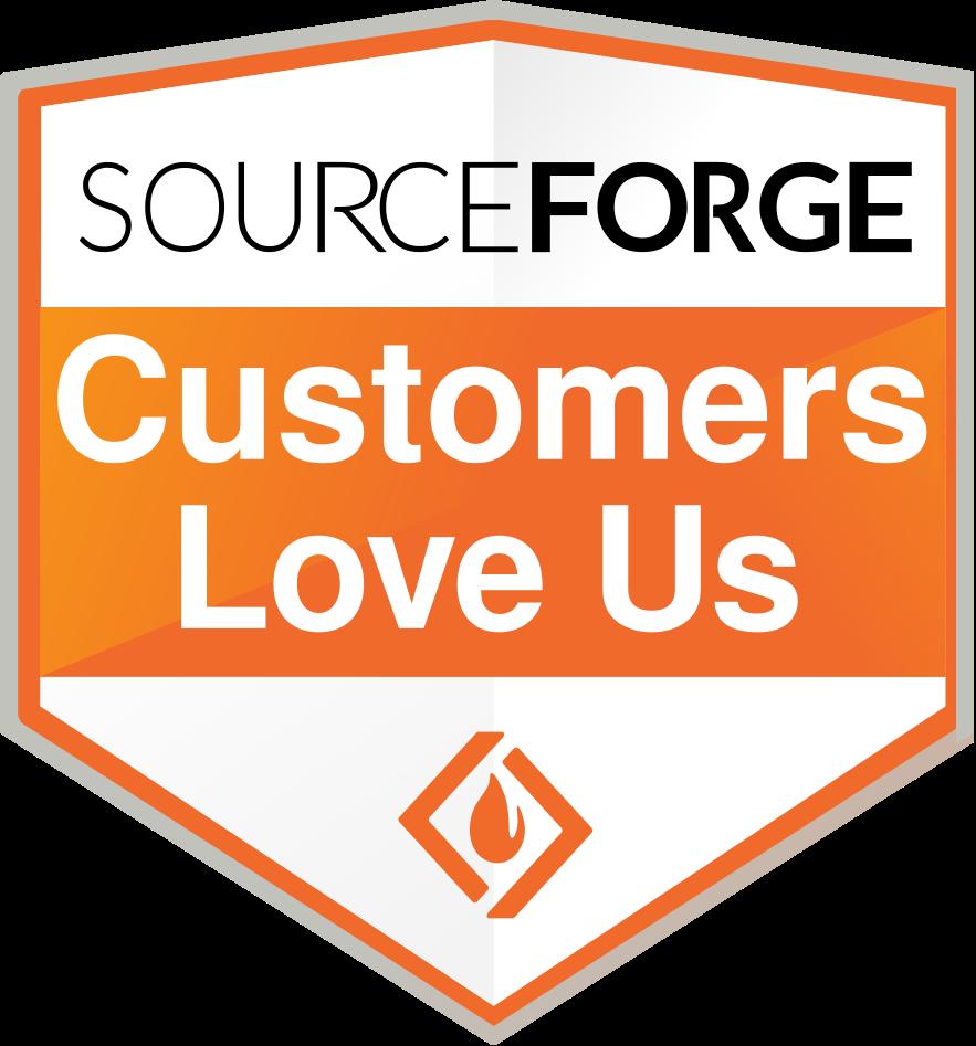 orange and white SourceForge Customers Love US Badge