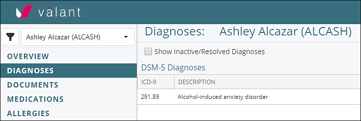 ICD codes in Diagnoses tab of Valant IO